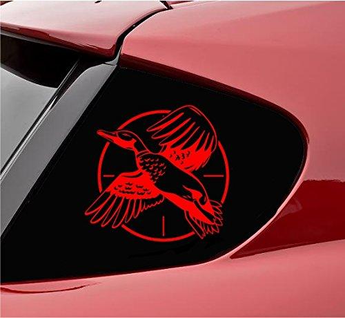 Slap-Art Pegatina de vinilo con diseño de cazador de pato (rojo)
