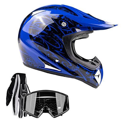 Typhoon Adult ATV MX Helmet Goggles Gloves Gear Combo Blue (Large)