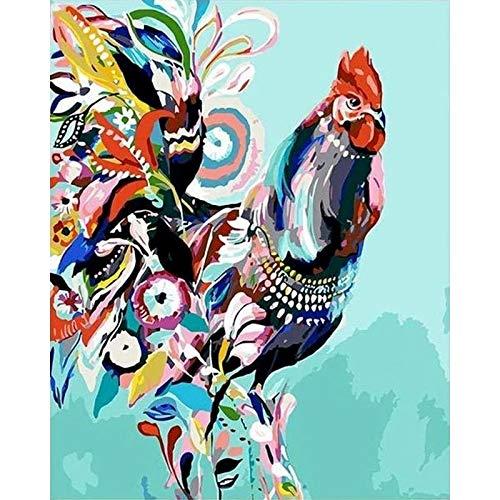 Pintura de bricolaje de animales coloridos sin marco por números para colorear por números pintura de lienzo de acrílico pintado a mano dibujo arte A13 50x70cm