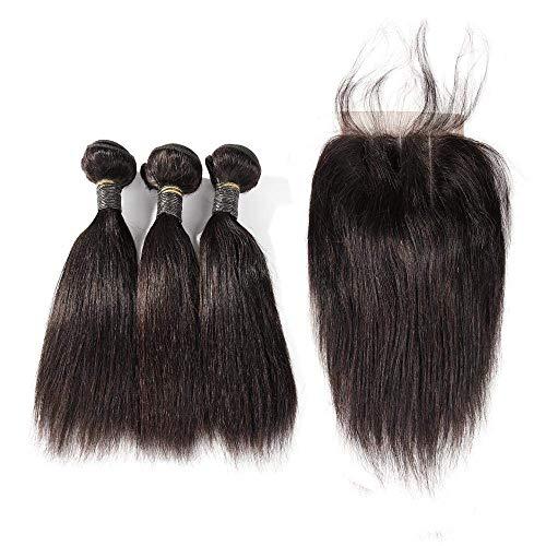 TOOCCI Tissage Bresilien en lot avec Closure - Closure Tissage Bresilienne Naturel Afro Brésilien Hair Bonnet Perruque Mèche Naturelle Tissage Closure 8 8 8+ 8 Pouces