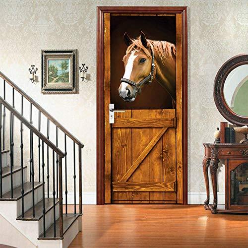 Etiqueta De La Puerta 3D Murales Diy Vinilo Caballo animal Papel Tapiz Carteles Pegatinas de Pared Para Dormitorio, cuarto de niños, arte moderno Decoraciones 77x200cm