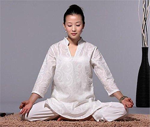 peiwen Baumwolle Weiß/Yoga tragen Set/Meditation Kleidung / 2 Stück/Top und Hose, l