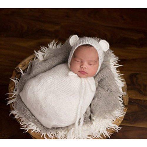 binlunnu neonato fotografia puntelli Boy Girl Crochet Costume Abbigliamento Cappello Sacco a pelo Blu bianco M