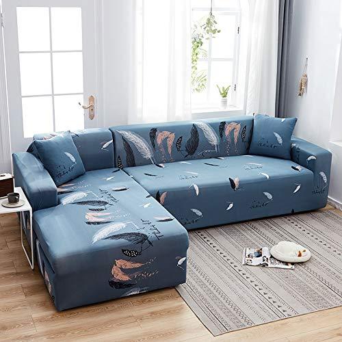 WXQY Funda de sofá con Estampado Floral, Esquina de Asiento, sofá Chaise Longue en Forma de L, Funda de sofá elástica, Funda de sillón A17, 2 plazas