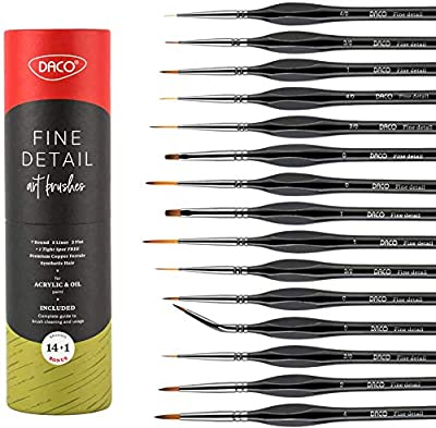DACO Detail Paint Brush Set, Fine Miniature Paint Brushes Kit with Ergonomic Handle, Holder and Travel Bag, for Acrylic, Oil, Watercolor, Art, Scale Model, Face, Paint by Numbers