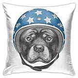 Funda de cojín con diseño de animal, ilustración de perro en un sombrero duro estrellado, 45,7 x 45,7 cm