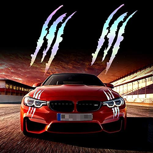 KeeForthewin Claw Marks Decal Reflective Sticker Waterproof Headlight Decal Vinyl Sticker Decal for Sports Cars 2PCS (Red)