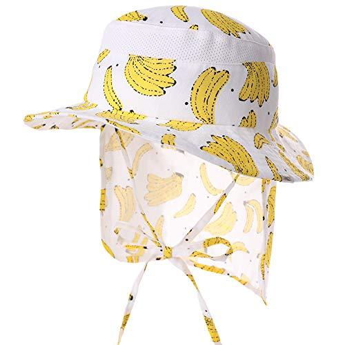 Comhats Babymütze 100% Baumwolle Sonnenhut mit Nackenschutz mädchen Jungen Banane