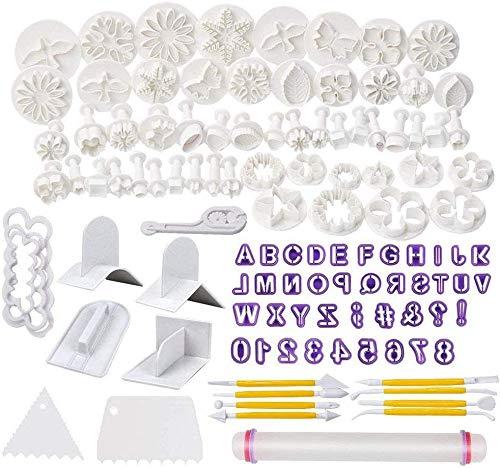 CNSSKJ, kit di strumenti per decorazione torte, 114 pezzi, con mattarello e stampini a forma di rosa e foglia per zucchero di mandorle, biscotti, cioccolato #4206