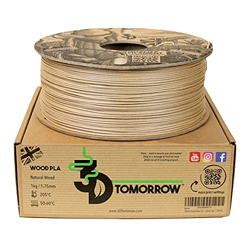 3DTomorrow Wood PLA - The ONLY UK Made Wood PLA Filament - 1.75mm, 100% Recyclable Cardboard Spool Eco Friendly 3D Printer Filament, (Natural Wood, 1kg - 1.75mm)