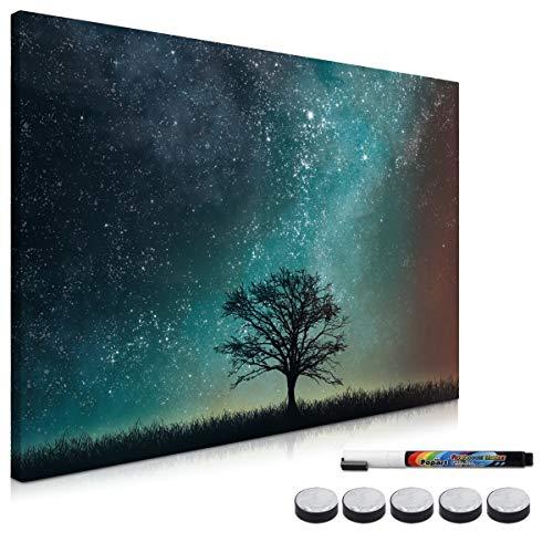 Navaris Memo Board Lavagna Magnetica 40x60 cm - Lavagnetta Scrivibile con Calamite - Bacheca Parete Cancellabile 5 Magneti 1 Pennarello - Sky Tree