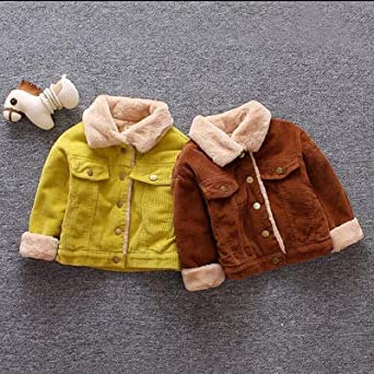 Toddler Boy Girl Winter Warm Clothes Vintage Fuzzy Fleece Lined Thick Jacket Outerwear Baby Corduroy Coat