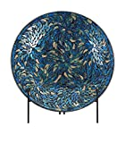 IMAX 80034 Peacock Mosaic Charger and Stand in Blue – Antique Glass Plate, Decor Accessory for Dining,...