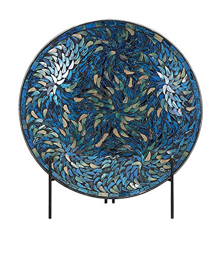 Imax 80034 Peacock Mosaic Charger and Stand in Blue – Antique Glass Plate, Decor Accessory for Dining, Parties, Wedding. Commemorative and decorative Plates