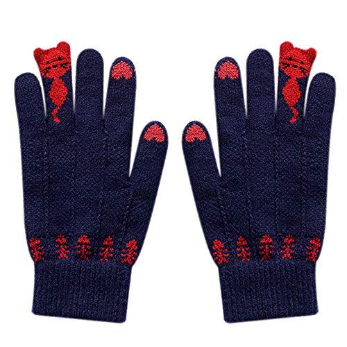 ENticerowts Guantes de ciclismo de invierno para mujer lindos dibujos animados gatos pantalla táctil guantes de dedo completo guantes de punto para ciclismo, correr, senderismo, conducción azul marino