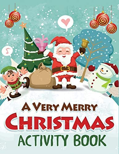 A Very Merry Christmas Activity Book Mazes Dot to Dot Puzzles Word Search Color by Number Coloring product image