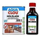 Clou Holz & Möbel Set Holzbeize B11 & Holzlack L11 - verschiedene Farbtöne und glanzgrade zur Auswahl (seidenmatt, schwarz)