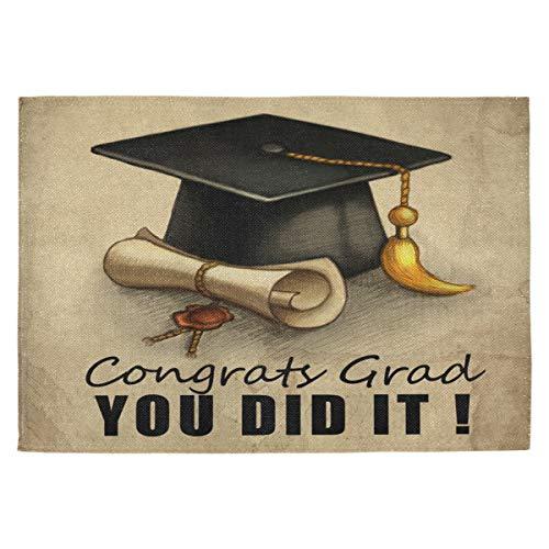 """Oarencol Graduation Cap and Diploma Congrats You did It Platzsets, hitzebeständig, waschbar, reinigbar, für Esstischdekoration, 45,7 x 30,5 cm, Polyester, 18\""""X12\"""""""