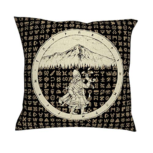 CCMugshop Scandinavisch viking waton kruiwagen bosberg Scandinavisch runen mythologie print katoen linnen decoratief werp kussenslopen vierkant kussenhoes voor outdoor geschenken
