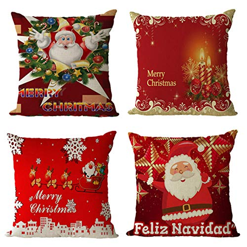 GenericBrands Cushion Covers Merry Christmas Cushion Covers Pillow covers Invisible Zipper Cushion Protectors Pillowcase for Car indoor Home Decorative 45 x 45 cm Set of 4