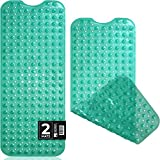 Sierra Concepts 2-Pack Bath, Shower, Tub Mat Green (39x16) Non Slip, Mildew Resistant, Machine Washable, Antibacterial, BPA, Phthalate Free, Bathtub Mats - Drain Holes, Suction Cups, XL Rectangle Size