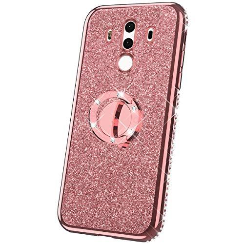 JAWSEU Kompatibel mit Huawei Mate 10 Pro Hülle Silikon Glitzer Glänzend Strass Diamant Überzug TPU Silikon Schutzhülle Ring Ständer Durchsichtig Handyhülle Tasche für Huawei Mate 10 Pro Rose Gold