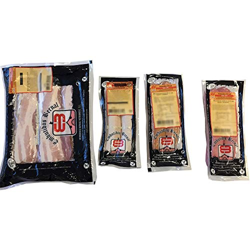 Embutidos Bernal - Lote de 6 Salchichas Alemanas Cocidas y Bacon con Queso: Bratwurst, Cervela y Picante (2 de cada) - Elaboradas con Tripa Natural - Productos Elaborados en Aragón