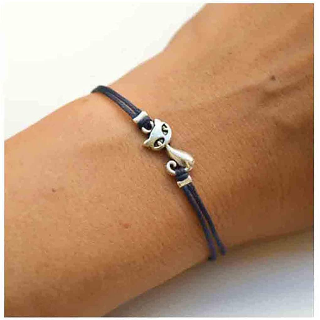 Olbye Cat Bracelet Black Hemp Bracelet Personalize Hand Chain Je
