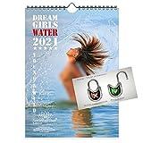 Calendario de pared 2021 (21,0 x 29,7 cm) chica erótica agua sexy Water Girls - Contenido del set de regalo: 1x calendario, 1x tarjeta de Navidad y 1x tarjeta de felicitación (3 partes en total)