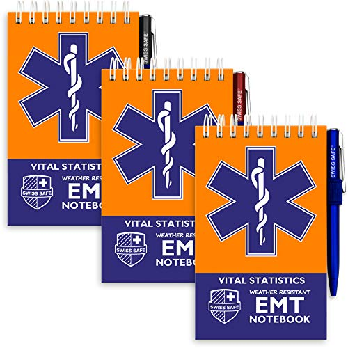 Swiss Safe EMT Vital Waterproof Notebook, 140 Pages Notepad and Pens, for Emergency First Responders, 3 Pack