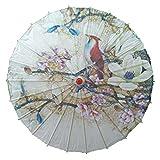 Handgefertigte chinesische/japanische Art Vintage Papierschirm Sonnenschirm 33-Zoll Magnolie und Vogel -