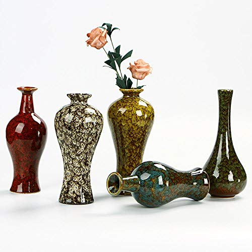 TELMU Retro Keramik Vase Foreign Style glasiert E Blumen arrangieren Haus