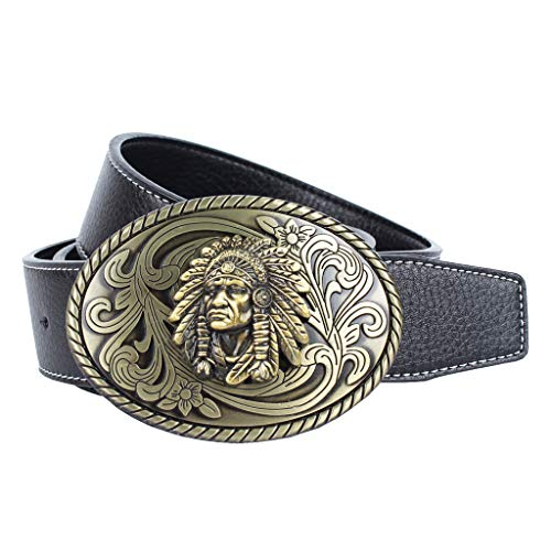 Baoblaze Leather Belt with Oval Indian Buckle Western Cowboy Style for Men - Black, as described