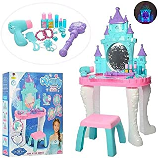 Kids Vanity Table & Chair Beauty Play Set w/Fashion Makeup Accessories for Girls