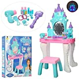 Cute little girls vanity table for your Little Princess with built-in mirror, play jewelry and stool Includes toy jewelry, cosmetics and hair accessories, Induction wand Real working Hair Dryer. 1 x AA battery required (not included) Fashion set incl...