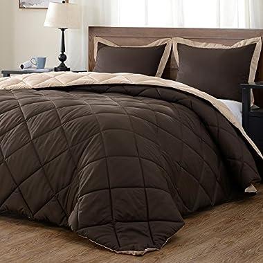 downluxe Lightweight Solid Comforter Set (Queen) with 2 Pillow Shams - 3-Piece Set - Brown and Tan - Hypoallergenic Down Alternative Reversible Comforter