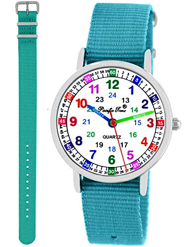 Pacific Time Kinder Armbanduhr Mädchen Jungen Lernuhr 2 Wechsel Textilarmband türkis hellblau analog Quarz 11120