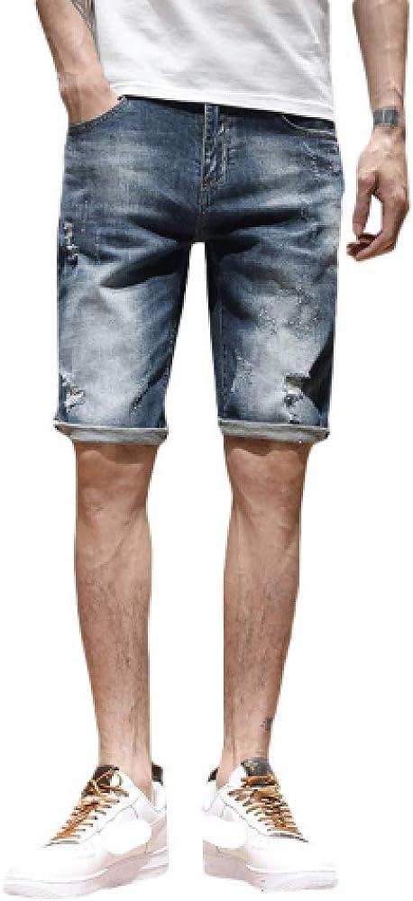 brandless Men's Shorts Summer Denim Shorts Straight Hole Solid Color Endurance Large Size