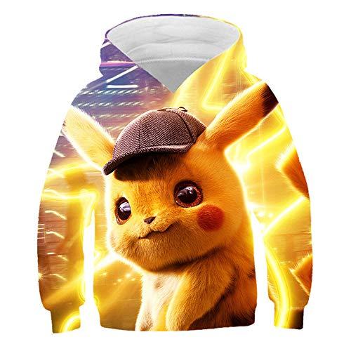 hhalibaba Nouveau Film d'anime Detective Pikachu Sweat à Capuche pour Enfants Sweatshirts imprimés en 3D Harajuku Enfants Garçon/Fille Hoodies décontractés