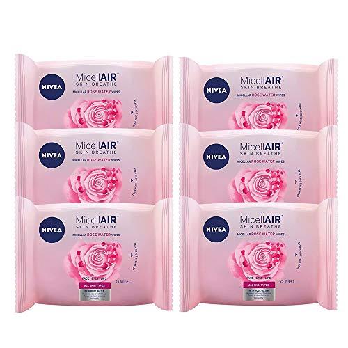 NIVEA MicellAIR Toallitas Desmaquilladoras Micelares con Agua de Rosas en pack de 6 (6 x 25 uds), toallitas de limpieza facial con tecnología micelar para una piel suave