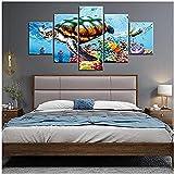 Cuadro de paisaje submarino modular de cinco pinturas, pintura en lienzo, decoración del hogar, 5 piezas, impresiones en HD, peces de acuario, tortugas, estrellas de mar, arte de pared, póster