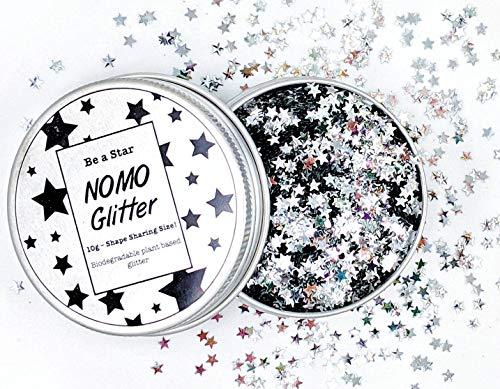 1/3oz! Silver Stars Plant-Based Biodegradable Vegan Glitter for Face, Body, Craft & Nails (10g)