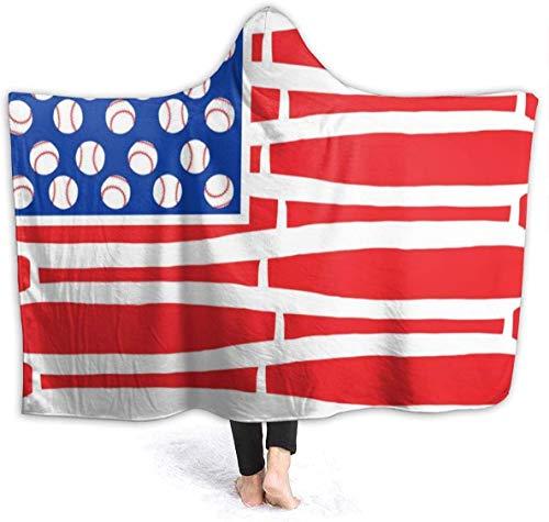 Bandera Americana Murciélagos Bolas Manta con Capucha Manta de Abrigo de Terciopelo de Lujo Súper Suave y acogedora Manta de Siesta cálida Poncho para Sala de Estar Dormitorio Dormitorio-Negro