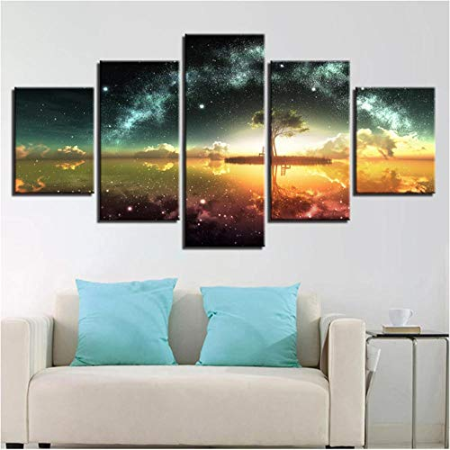 5 Pieces Canvas Prints Green Tree Starry Sky Wall Art for Living Room Home Decorations Large Modern Gallery Wrapped Pretty Landscape Pictures Paintings Artwork Ready to Hang-80 Wx40 H with Frame