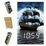 Z&Q Despertador Digital para niños Barco Moon Ocean Reloj de...