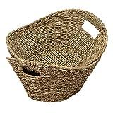 Made Terra Juego de 2 organizadores de cestas de Frutas de Mimbre Seagrass   Cestas de cesto de Alambre Tejido de Paja con Asas para Sala de Estar, baño, Cocina, hogar y decoración de Oficina