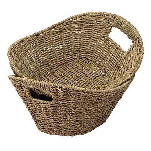 Made Terra Juego de 2 organizadores de cestas de Frutas de Mimbre Seagrass | Cestas de cesto de Alambre Tejido de Paja con Asas para Sala de Estar, baño, Cocina, hogar y decoración de Oficina