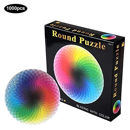gaeruite Ronde Jigsaw Puzzel, 1000 stuks ronde legpuzzels Rainbow Palette, puzzel educatief spel voor volwassenen en kinderen