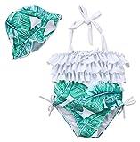 2 pcs Ensemble de Bikini pour Bébés Fille et Mère Maillot de Bain pour Famille (1-2Ans, Vert fille)