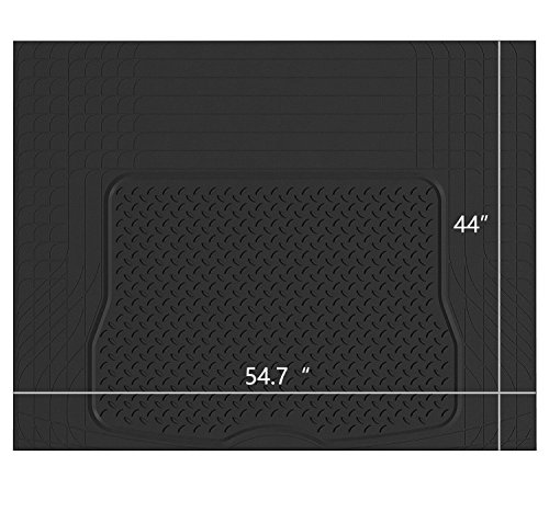 PIC AUTO Heavy Duty Rubber Trunk Cargo Liner Floor Mats, Trimmable to Fit for Car, SUV, Van, Trucks (Large, Black)